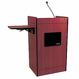 Multimedia Lectern w/ Microphone,Mahogny
