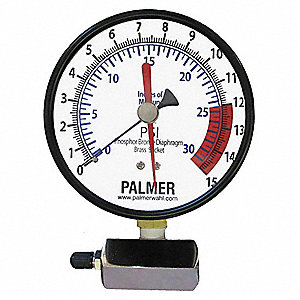 "4"" Leak Testing Pressure Gauge, 0 to 15 psi"