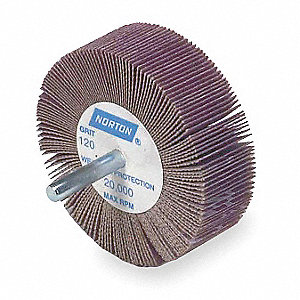 "1"" Flap Wheel With Shank, Coated, 1"" Width, 1/4"" Shank Size, Ceramic, 120 Grit, Fine"