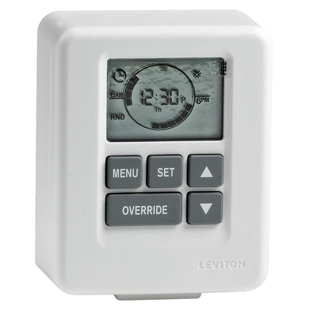 LEVITON Plug In Timer, White, Min. Time Setting: 1 min., Max. Time ...