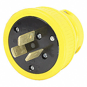 50A Industrial Grade Dust Tight Straight Blade Plug, Yellow; NEMA Configuration: 10-50P
