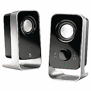 Computer Speakers, 3.5mm Jack, 5 ft. Cable Length, Black/Silver