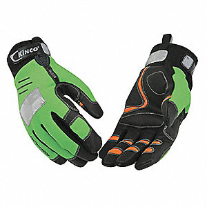General Utility High Visibility Mechanics Gloves, MiraX2/Synthetic Leather Palm Material, High Visib