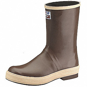 "12""H Men's Knee Boots, Plain Toe Type, Neoprene Upper Material, Brown, Size 13"