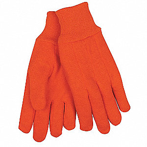 Cotton Jersey Gloves, Knit Cuff, 10 oz. Fabric Weight, Orange, L, PR 1