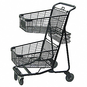 "29""L x 22-1/4""W x 41-1/4""H 2-Tier Shopping Cart, 300 lb. Load Capacity"
