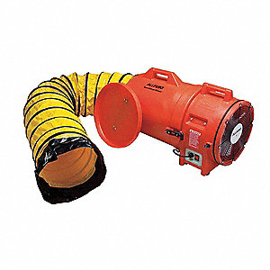 Axial Confined Space Fan, 1 HP, 110VAC Voltage, 3450 rpm Blower/Fan Speed