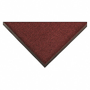 "Indoor Entrance Mat, 3 ft. L, 24"" W, 1/4"" Thick, Rectangle, Burgundy"