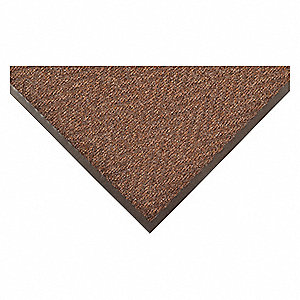 "Indoor Entrance Mat, 3 ft. L, 24"" W, 5/16"" Thick, Rectangle, Brown"