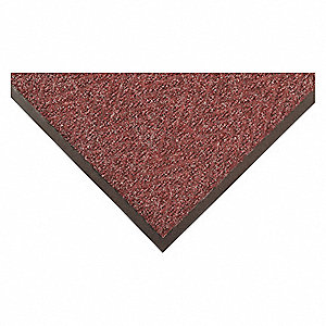"Indoor Entrance Mat, 5 ft. L, 3 ft. W, 15/16"" Thick, Rectangle, Burgundy"