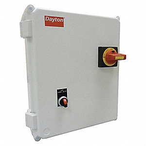 120VAC Selector Switch IEC Combination Starter, 4X Enclosure NEMA Rating, Amps AC: 20 to 25
