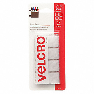 "Hook-and-Loop-Type Reclosable Fastener Shapes with Rubber Adhesive, White, 7/8"" x 7/8"", 12PK"