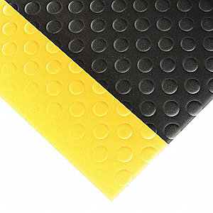 Antifatigue Mat,Black,YllwBrdr,3ft.x5ft.
