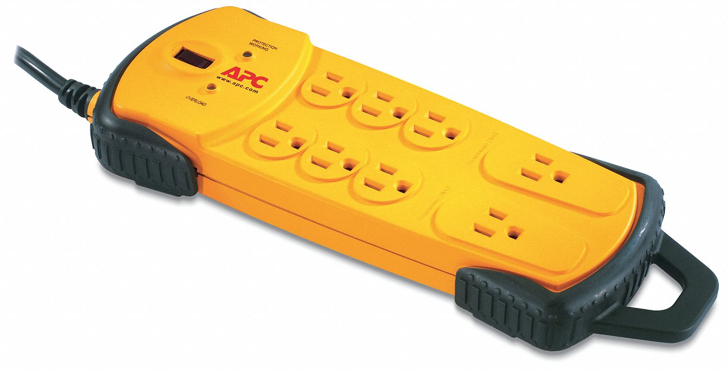 Surge Protector Outlet Strip,  8 Total Number of Outlets,  Yellow/Black,  15 ft,  800 Rated Joules