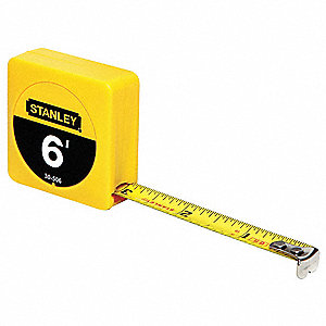 Tape Measure,1/2 In x 6 ft,Black,In/Ft