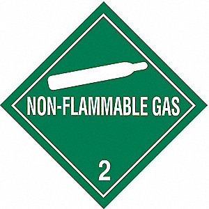 "Shipping Labels, Non-Flammable Gas 2 Legend, Vinyl, 4"" Width, 4"" Height"