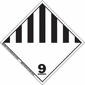 "Shipping Labels, (Misc. Hazardous Materials) 9 Legend, Vinyl, 4"" Width, 4"" Height"