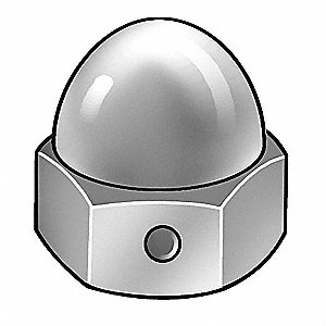 "5/16""-24 Self-Locking Cap Nut, Plain Finish, Stainless Steel 18-8, PK10"