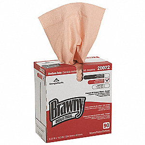 "Brawny® Professional DRC (Double Re-Creped) Disposable Wipes, 90 Ct. 9-1/4"" x 16-5/16"" Sheets, Orang"