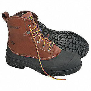 "6""H Men's Work Boots, Plain Toe Type, Leather And Rubber Upper Material, Brown/Black, Size 10"