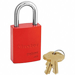Red Lockout Padlock, Alike Key Type, Master Keyed: No, Aluminum Body Material