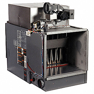 "Indoor Duct Furnace, NG, BtuH Output 120,000, 3704 cfm, Gas Connection 1/2"", 120VAC, 1.9A"