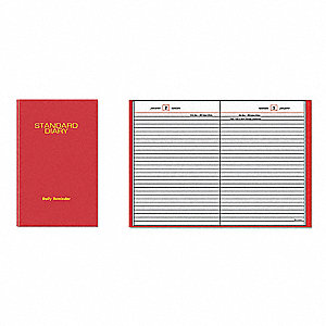 Planner,Daily,5-3/4 x 8-1/4in,Red