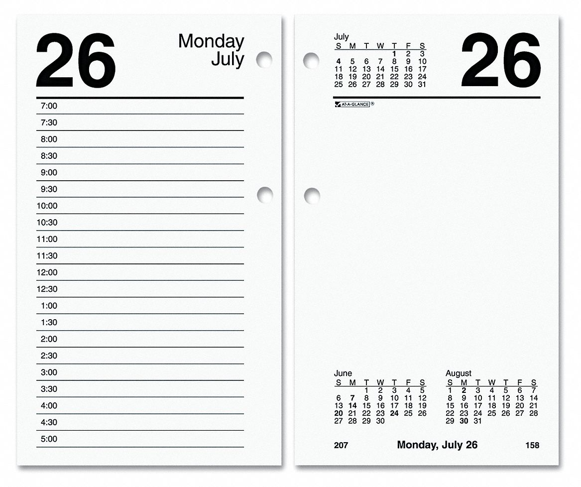 Desk Calendar Refill,  Format One Page Saturday, One Page Sunday, One Weekday per Two-Page Spread