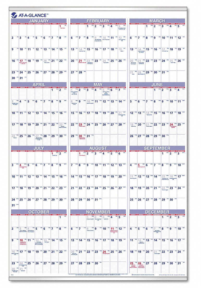 Wall Calendar,  Format 12 Months on Single Page,  Sheet Size 24 x 36 in,  Color White