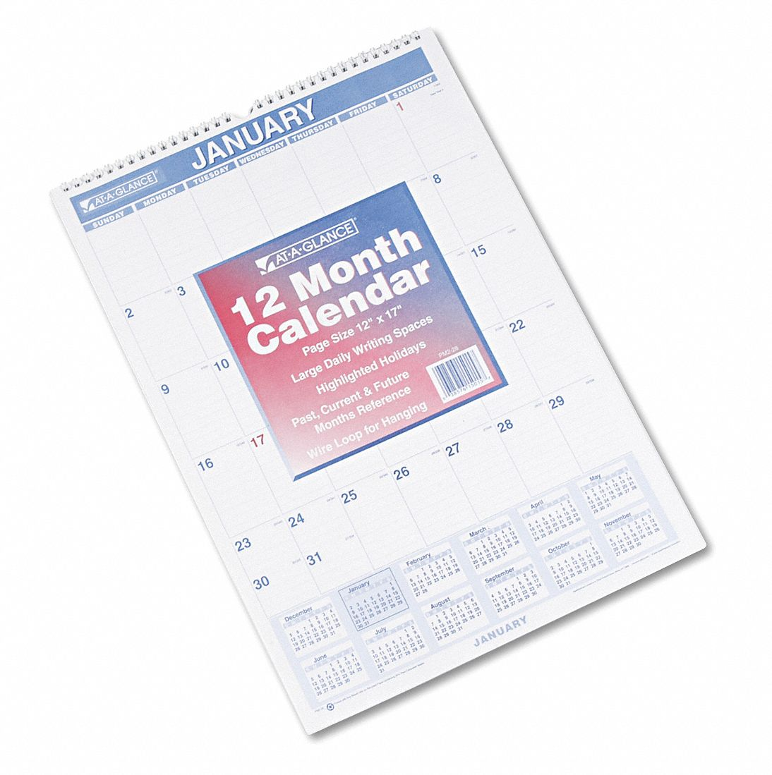 Wall Calendar,  Format One Month Per Page,  Sheet Size 12 x 17 in,  Color White