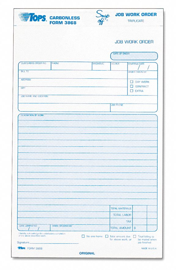 tops job work order form 5 12 x 8 12 pk50 6rnl5top3868 grainger
