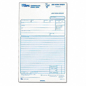 Job Work Order Form,5 1/2 X 8 1/2