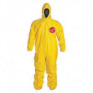 Hooded Chemical Resistant Coveralls with Elastic Cuff, Yellow, XL, Tychem® 2000