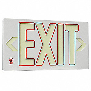 Exit Sign,8-3/4 x 15-3/8In,GRN and R/GRA