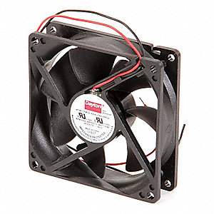 "Square Waterproof Axial Fan, 3-5/8"" Width, 3-5/8"" Height, 3-5/8"" Fan Dia., 24VDC Voltage"