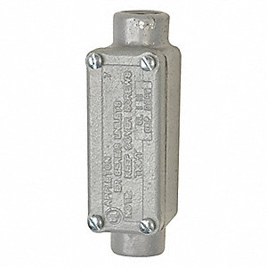 "C-Style 1/2"" Conduit Outlet Body with Cover, Threaded Iron, 4.8 cu. in."