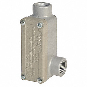 "LR-Style 1/2"" Conduit Outlet Body with Cover, Threaded Iron, 4.8 cu. in."