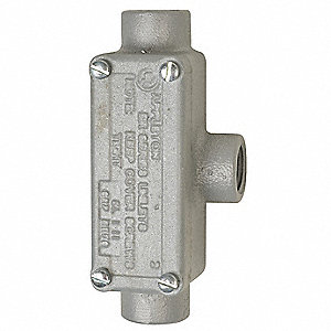 "T-Style 3/4"" Conduit Outlet Body with Cover, Threaded Iron, 7.3 cu. in."