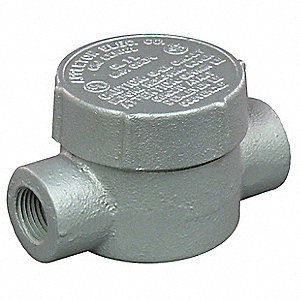 "C-Style 1/2"" Conduit Outlet Body, Threaded Iron, 7.3 cu. in."