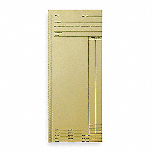 "Time Cards, Payroll Card Type, Records Weekly, Bi-Weekly, 8-1/4"" Height, 3-3/8"" Width"