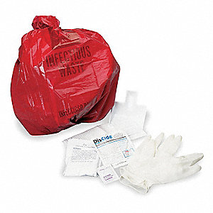 Federal OSHA Bloodborne Pathogen Kit, Biohazard Bag, Red, 1 EA