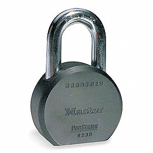 "Alike-Keyed Padlock, Open Shackle Type, 1-1/8"" Shackle Height, Silver"