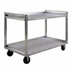 "37"" x 22"" x 41"" All Welded Aluminum Cart with 2000 lb. Load Capacity, Silver"