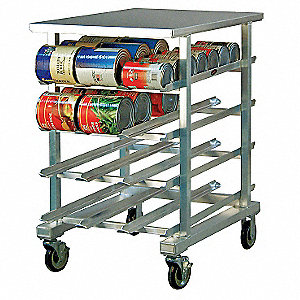 "25"" x 35"" x 41"" Aluminum With Stainless Top Can Rack"