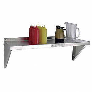"36"" x 12"" x 13-1/2"" Aluminum Wall Shelf, Silver"