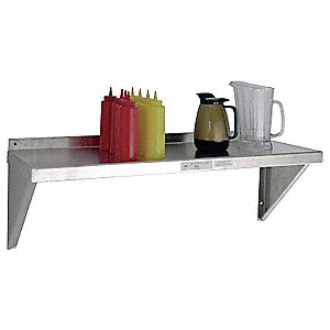 "60"" x 15"" x 13-1/2"" Aluminum Wall Shelf, Silver"