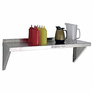 "Solid Aluminum Wall Shelf, 36""W x 18""D x 13-1/4""H, No. of Shelves: 1"