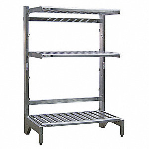 "72"" 3 Arm 900 lb. Capacity Aluminum T-Bar Cantilever Shelving, Gray Powder Coated"