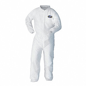 Collared Disposable Coveralls with Elastic Cuff, White, 4XL, SMMMS