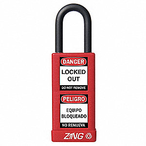 Red Lockout Padlock, Alike Key Type, Aluminum Body Material